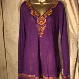 Inc concept purple vneck yellow embellishments M
